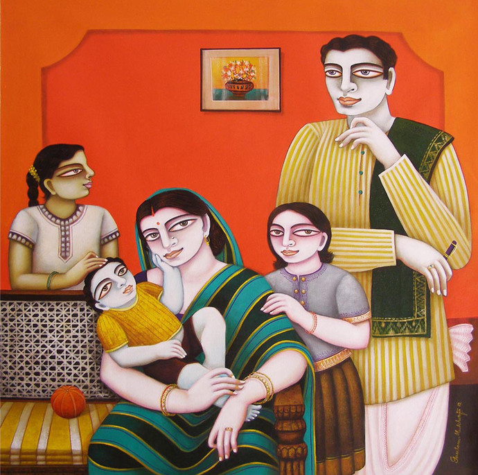 Family by Gautam Mukherjee, Traditional, Traditional Painting, Oil on Canvas, Brown color