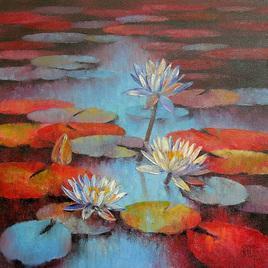 Waterlilies by Swati Kale, , , Brown color
