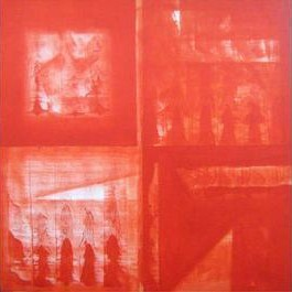 untitled by Dhirendra Mandge, Abstract, Abstract Painting, Acrylic on Canvas, Red color