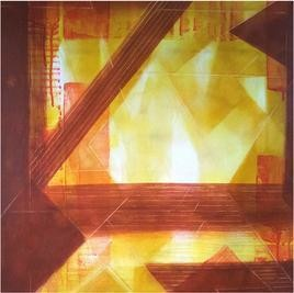 Linear Affair by Dhirendra Mandge, Abstract, Abstract Painting, Acrylic on Canvas, Brown color