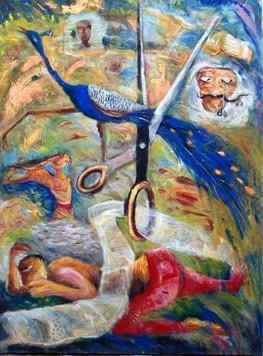 A Cut by Madhu Dhanuka Jain, Painting, Acrylic on Canvas, Brown color