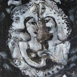 Made For Each Other by Madhu Dhanuka Jain, Painting, Acrylic on Canvas, Gray color