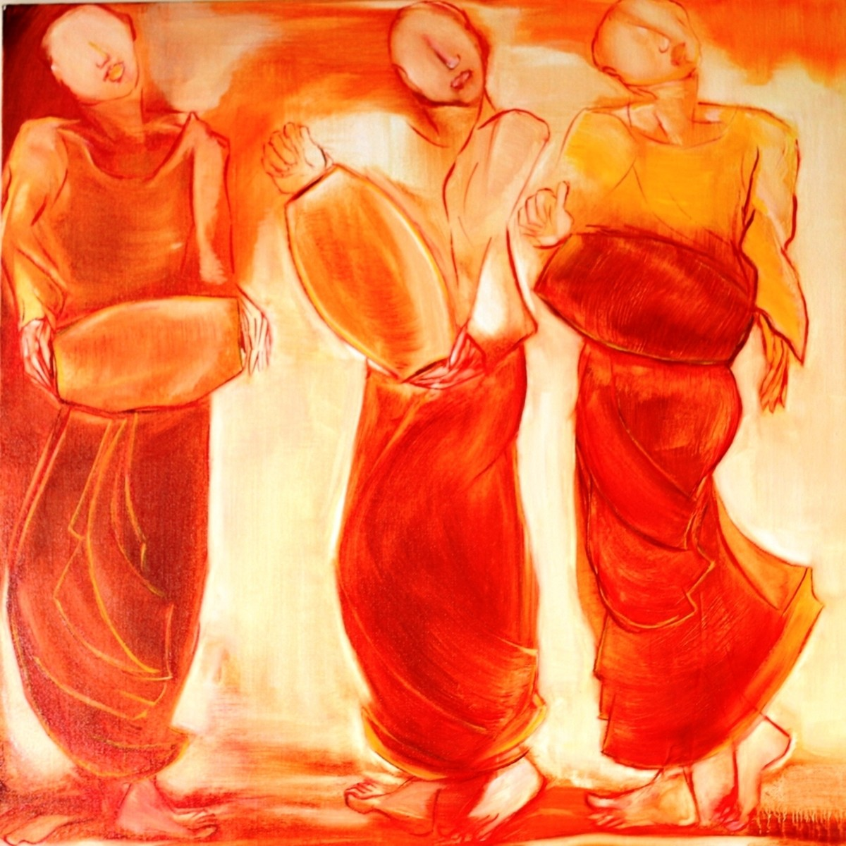 Monks by Uma Chhatrapati, Decorative, Decorative Painting, Oil on Jute, Orange color