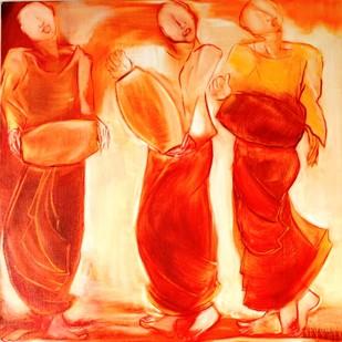 Monks by Uma Chhatrapati, Decorative, Decorative Painting, Oil on Jute, Orange color
