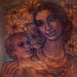 Mother & Child by Rupchand Kundu, Decorative, Decorative Painting, Mixed Media on Canvas, Brown color