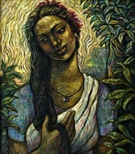 Tribal Woman by Rupchand Kundu, Decorative, Decorative Painting, Oil & Acrylic on Canvas, Green color