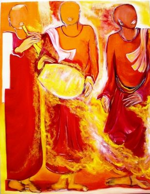 Monks 1 by Uma Chhatrapati, Decorative, Decorative Painting, Oil on Jute, Orange color