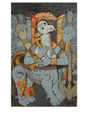 Urdvamukhi Kundalini 2 by Prabhu Harsoor, Fantasy, Fantasy Painting, Oil on Canvas, Gray color