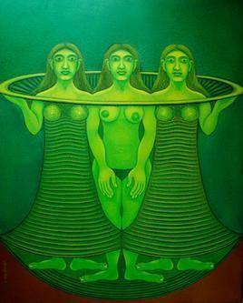 Water by Babli Keshri, Fantasy, Fantasy Painting, Acrylic on Canvas, Green color