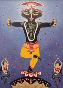 Kalia Daman by Bhaskar Lahiri, , , Blue color