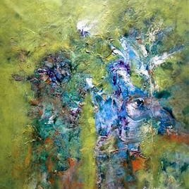 Forest by Kalaiselvan Kumar, Painting, Oil & Acrylic on Canvas, Green color