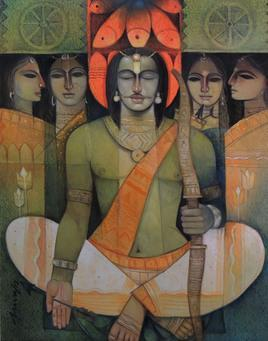 Meditation Before Target by Arun Kumar Samadder, , , Brown color