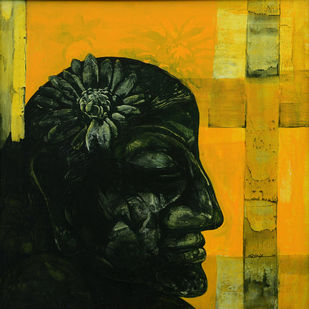 Expressive by Pradip Muhuri, Conceptual, Conceptual Painting, Acrylic on Canvas, Green color