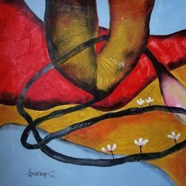 Nature of Life 7 by Dipankar Pal, Painting, Acrylic on Paper, Brown color