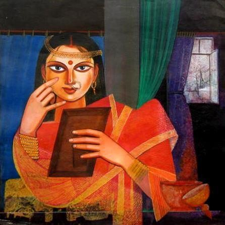 Portrait of Woman by Deepankar Majumdar, Decorative, Decorative Painting, Watercolor on Paper, Brown color