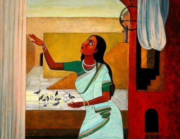 Portrait of Woman by Deepankar Majumdar, Decorative, Decorative Painting, Watercolor on Paper, Brown color