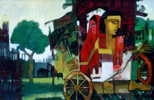 Cart Riding by Deepankar Majumdar, Decorative, Decorative Painting, Watercolor on Paper, Green color