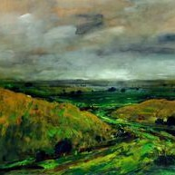 Landscape 3 by Avinash Mokashe, Impressionism Painting, Gouache on Paper, Green color