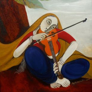 Musician 03 by Jayshree P Malimath, Traditional, Traditional Painting, Mixed Media on Canvas, Brown color