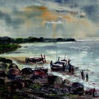 Landscape 3 by Avinash Mokashe, Impressionism Painting, Watercolor on Paper, Green color