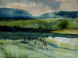 Landscape 2 by Avinash Mokashe, Impressionism Painting, Watercolor on Paper, Green color