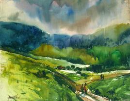 Landscape 1 by Avinash Mokashe, , , Green color