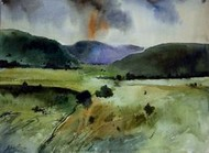 Landscape 5 by Avinash Mokashe, Impressionism Painting, Watercolor on Paper, Green color
