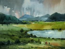Landscape 4 by Avinash Mokashe, Impressionism Painting, Watercolor on Paper, Green color