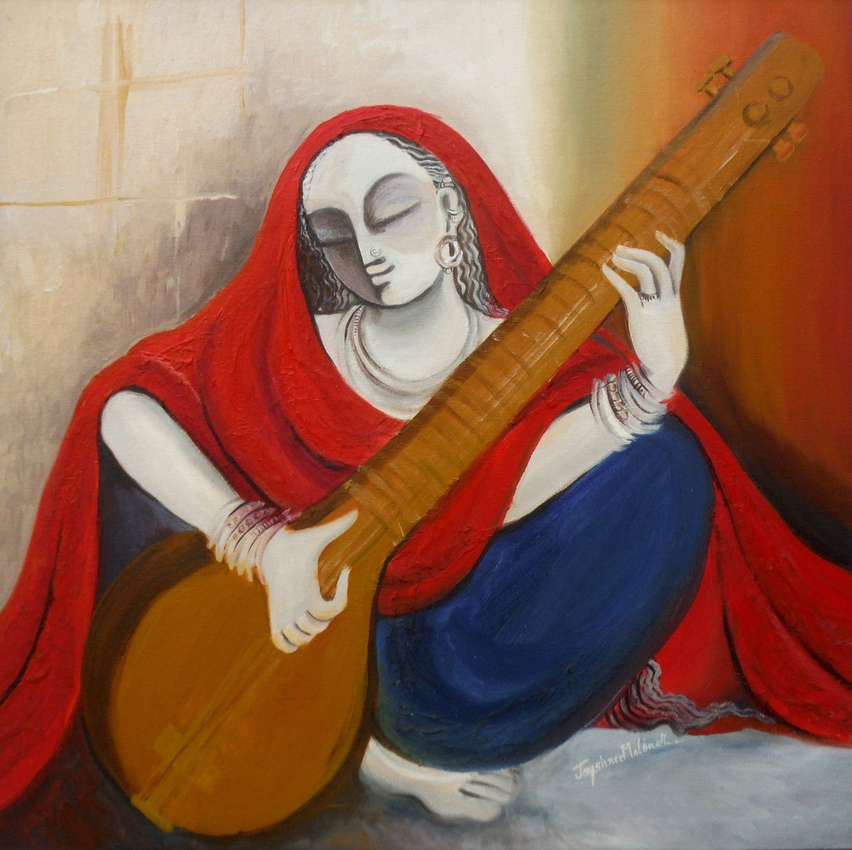 Musician 04 by Jayshree P Malimath, Traditional, Traditional Painting, Mixed Media on Canvas, Brown color