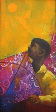 The Boy With Kite by Sachin Akalekar, Painting, Acrylic on Canvas, Orange color