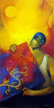 kite - Painting by Sachin Akalekar