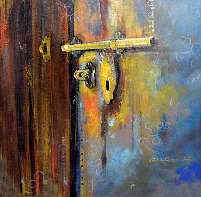 The Rustic City by Anuradha Date, Conceptual, Conceptual Painting, Acrylic on Canvas, Brown color