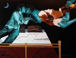 Social Ties-XX by Ranjan Kumar Mallik, Painting, Acrylic on Canvas, Brown color