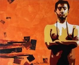 Social Ties-XIV by Ranjan Kumar Mallik, Painting, Acrylic on Canvas, Orange color