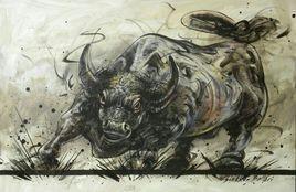 Bull by Shekhar Ballari, , , Beige color