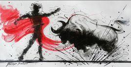 Bull Fight by Shekhar Ballari, , , Gray color