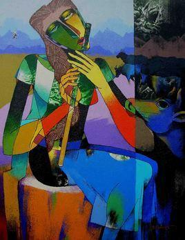 Lady with Cows by Dayanand Kamakar, , , Blue color