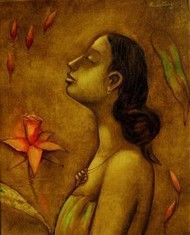 Lady With Red Flower by Ramesh Terdal, Decorative, Decorative , Oil on Canvas, Brown color