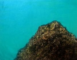 Human Alley 2 by Apurva Singh, Conceptual Painting, Mixed Media on Canvas, Cyan color