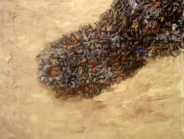 Space by Apurva Singh, Painting, Mixed Media on Canvas, Beige color