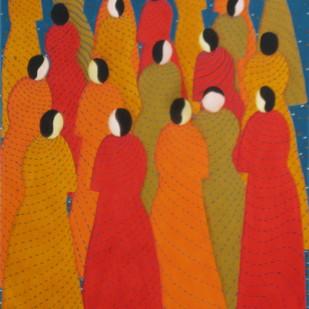 Chateratti - 4 by Hemavathy Guha, Decorative, Decorative Painting, Acrylic on Paper, Orange color