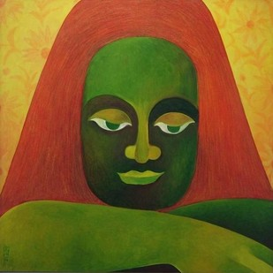 In Deep Thought by Chaitali Chatterjee, Decorative, Decorative Painting, Mixed Media on Canvas, Green color