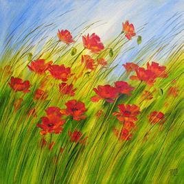 Dancing Flowers by Swati Kale, , , Green color