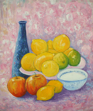 Still Life With Blue Vase, Apples & Lemons by Animesh Roy, Realism, Realism Painting, Oil on Linen, Brown color