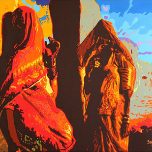Rajasthani Ladies by Jayesh Sachdev, Pop Art, Pop Art Painting, Acrylic on Canvas, Brown color