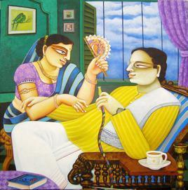 Couple 27 by Gautam Mukherjee, , , Beige color