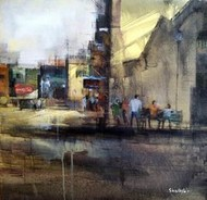 Morning by Shailesh Meshram, Painting, Acrylic on Canvas, Gray color