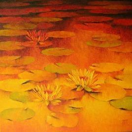Water Lilies by Swati Kale, , , Orange color