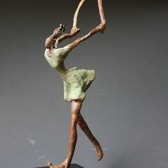Skipping by Shanta Samant, Expressionism Sculpture | 3D, Bronze, Gray color