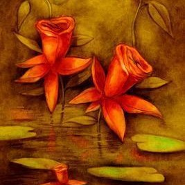 Fantasy Flowers by Ramesh Terdal, Decorative, Decorative , Oil on Canvas, Brown color